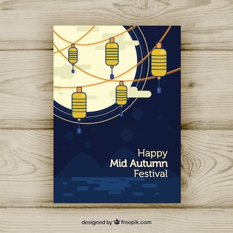 Mid autumn festival poster with lamps