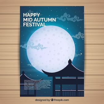 Mid autumn festival poster with moon