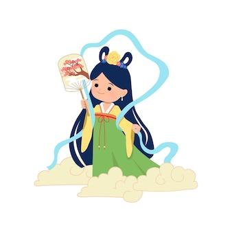空を飛んでいる中秋節姫。白い背景のテンプレート。月餅祭りの休日。