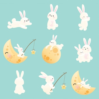 Mid autumn festival set of bunny.