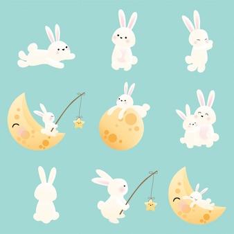 Mid autumn festival set of bunny.