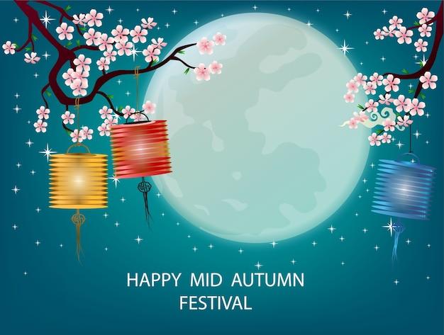 Mid autumn festival vector blue background ,full moon