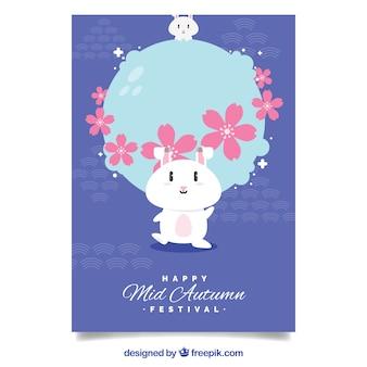 Festa di autunno autunnale con coniglietto e fiori