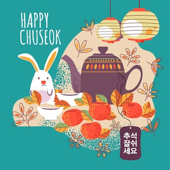 Mid autumn festival with cute teapot