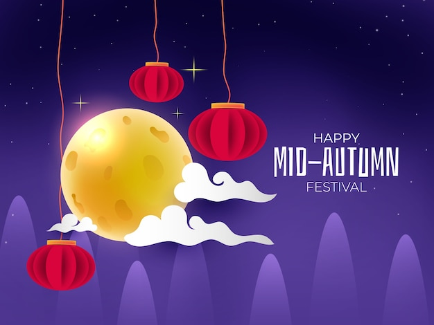 Mid autumn festival with full moon red lamps background