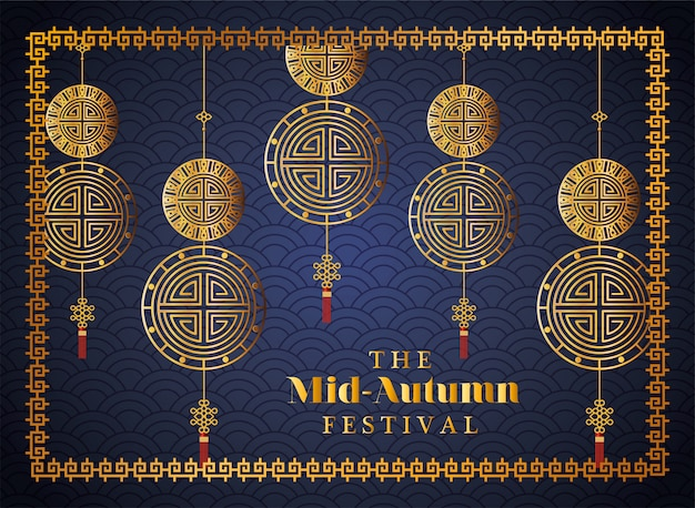 Mid autumn festival with gold fortune hangers and frame