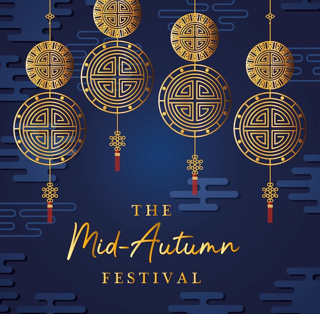 Mid autumn festival with gold fortune hangers