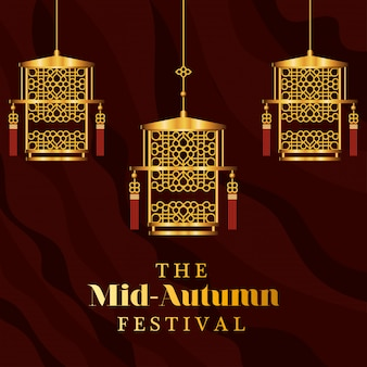 Mid autumn festival with gold lanterns