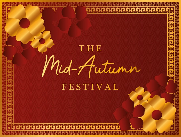 Mid autumn festival with gold red flowers and frame