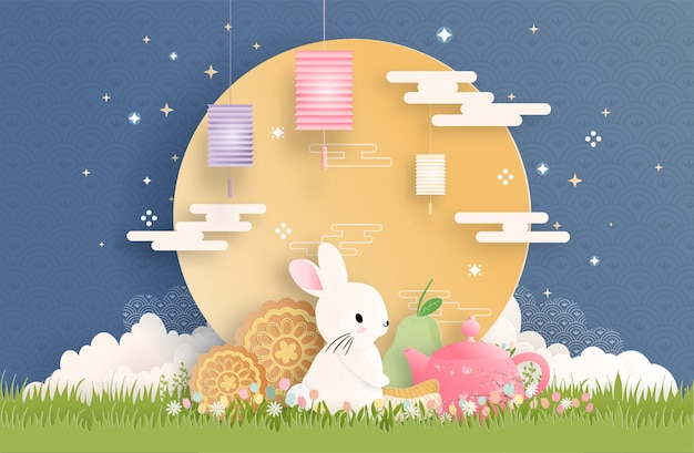Mid autumn festival with paper cut style vector illustration.