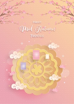 Mid autumn festival with paper cut style