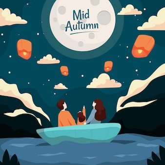 Mid-autumn festival with people and moon