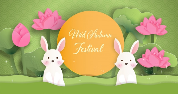 Mid  autumn festival  with a rabbit in paper cut style.