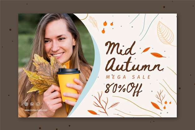 Mid autumn horizontal banner template