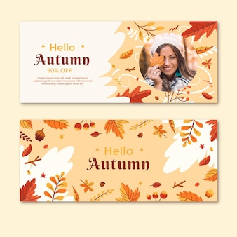 Mid autumn horizontal banners pack