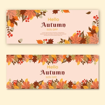 Mid autumn horizontal banners set