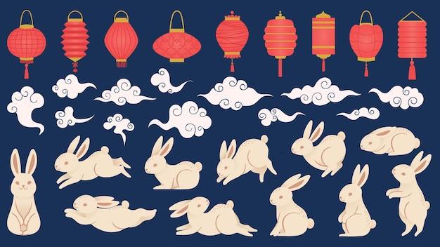 중순가 토끼. 등불, 구름, 재미있는 토끼 벡터 세트가 있는 동양 스타일의 중국 및 베트남 전통 축제 요소. 그림 중국 토끼와 축제 등불