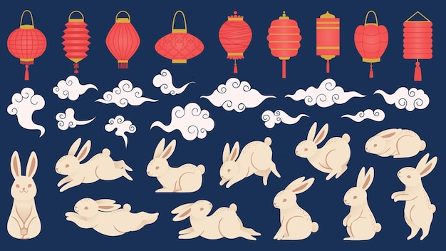 Mid autumn rabbits. chinese and vietnamese traditional festival elements in oriental style with lanterns, clouds and funny bunny vector set. illustration chinese rabbit and festival lantern