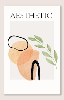 Mid century abstract watercolor organic shapes and leaves poster hand drawn cover print wallpaper