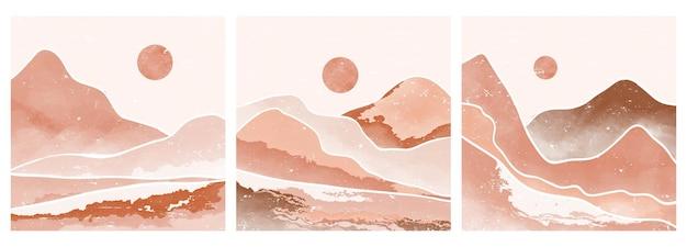 Современный минималистский художественный принт середины века. абстрактные современные эстетические фоны пейзажи с солнцем, луной, морем, горами. векторные иллюстрации