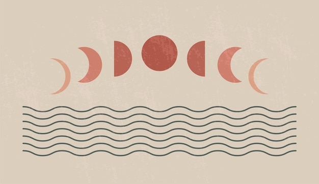 Mid century modern minimalist art print with organic natural shape. abstract contemporary aesthetic background with geometric moon phases and sea. boho wall decor.