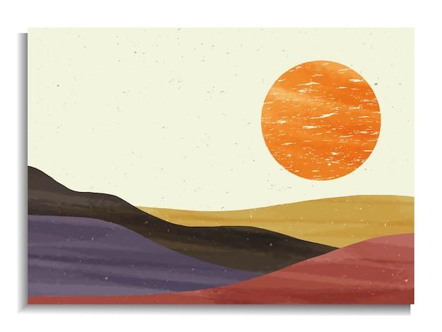 Mid century modern minimalist art print.