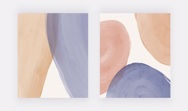 파란색과 갈색 모양의 중세 벽 예술 인쇄