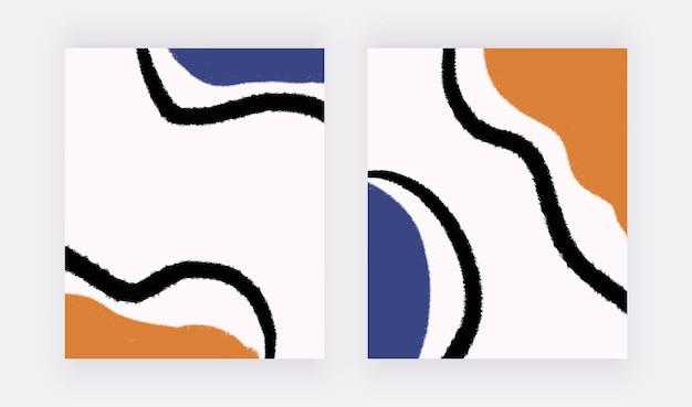 선과 기하학적 모양이 있는 중반 세기 벽 예술 인쇄