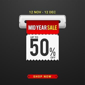 Modello di banner per offerte speciali di saldi di metà anno