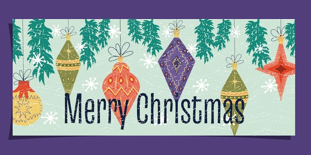 Midcentury art nouveau on a christmas card happy christmas text with tree toys snowflakes