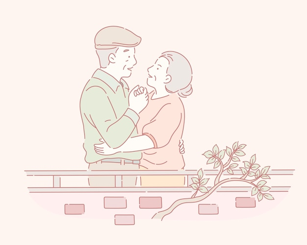 서로의 손을 잡고 중간 나이 든된 부부 그려진 선 스타일