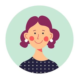 원 안에 중년 여성 캐릭터 초상화, 고립된 여성의 둥근 아바타. 얼굴에 미소를 띠고 있는 쾌활한 젊은 여성, 젊음 또는 소셜 미디어용 힙스터 사진. 평면 스타일에 귀여운 소녀 벡터