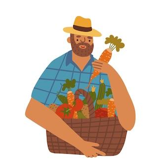 さまざまな野菜のバスケットとデニムと帽子を身に着けているひげを持つ中年のマンファーマーベクトルfl ...