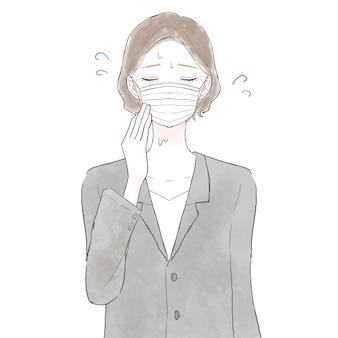 マスクを着用して蒸しに苦しんでいるスーツの中年女性。白い背景に。
