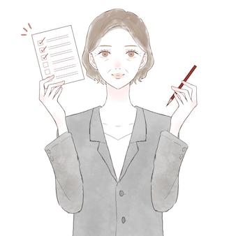 チェックリストとスーツを着た中年女性。白い背景に。