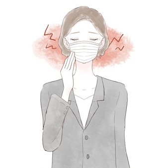 Middle-aged woman in a suit suffering from friction and inflammation due to wearing a mask. on white background.