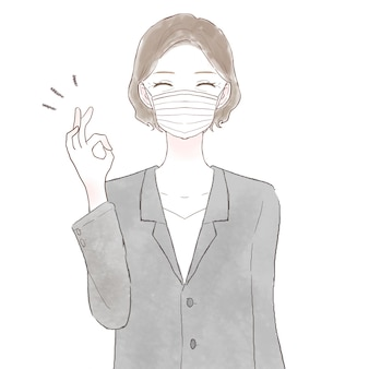 Middle-aged woman in suit wearing nonwoven mask with ok sign. on white background.
