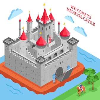 Middle ages european royal castle composition