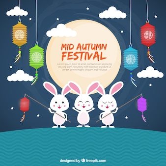 Middle autumn festival, bottom with three rabbits
