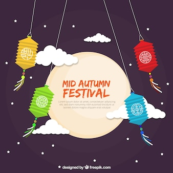 Middle autumn festival, full moon with four lanterns