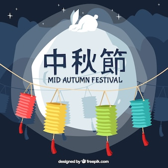 Middle autumn festival, full moon with a rabbit
