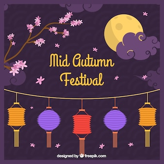 Middle autumn festival, scene with lanterns