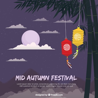 Middle autumn festival, scene with a purple moon