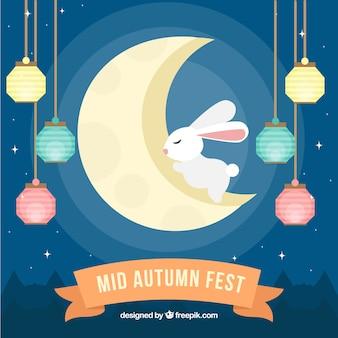 Festa medievale di autunno, scena con un coniglio sulla luna