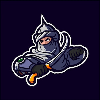 Middle east assassin holding sword logo mascot