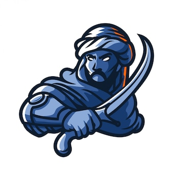 Middle east knight holding sword logo mascot