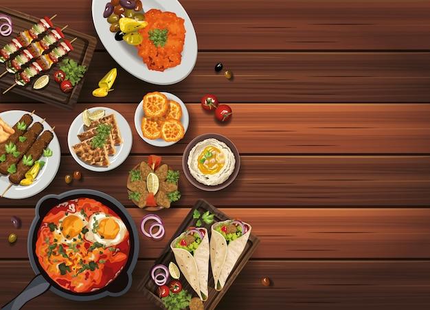 Ближневосточная еда в деревянном столе иллюстрации