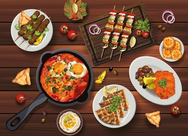 Middle eastern food in wooden table illustration