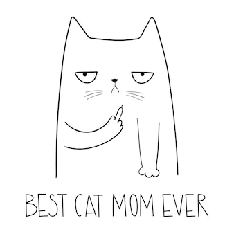 Кошка со средним пальцем лучшая кошка мама когда-либо забавный сердитый кот мультяшный стиль векторная иллюстрация