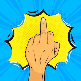 Middle finger symbol in comic style